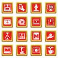 3D Printing icons set red