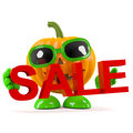 D pumpkin man holds a sale render of character holding the word Royalty Free Stock Photo