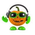 D pumpkin tunes render of a wearing headphones Stock Images
