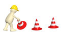 D puppet with emergency cones isolated on white background Royalty Free Stock Photo