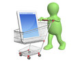 D puppet with shopping cart and smartphone isolated on white background Stock Photography