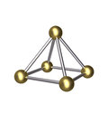 D pyramid gold ball and silver rod isolated metallic constructed from golden five balls eight rods Stock Images