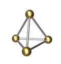 D pyramid gold ball and silver rod isolated metallic constructed from golden four balls six rods Royalty Free Stock Image