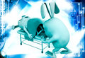 D rabbit taking patient to icu illustration on abstract background right side angle view Stock Photos