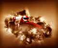 D race car with storm effect render of a man in a Royalty Free Stock Photo