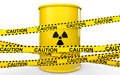 3d radiations symbol barrel and caution ribbons Royalty Free Stock Photo