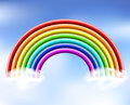 D rainbow in the sky with clouds eps Stock Photos