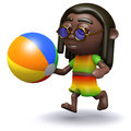 D rasta beachball render of a rastafarian playing with a beach ball Royalty Free Stock Image