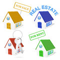 D real estate business icon set eps gradient meshes Royalty Free Stock Image