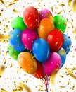 3d Realistic Colorful Bunch of Birthday Balloons with confetti Flying for Party and Celebrations