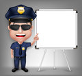 D realistic friendly police man character policeman teaching on white board with space for text in white background vector Stock Images