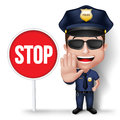 D realistic friendly police man character policeman in uniform with stop sign hand for traffic in white background vector Royalty Free Stock Photos
