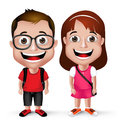 D realistic kids school boy and girl student wearing casual with backpack eyeglass in white background vector illustration Stock Image