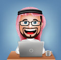 3D Realistic Saudi Arab Businessman Cartoon Character Sitting Working Royalty Free Stock Photo