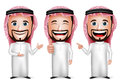 3D Realistic Saudi Arab Man Cartoon Character with Different Pose Royalty Free Stock Photo
