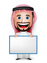 3D Realistic Saudi Arab Man Cartoon Character Holding Blank White Board Royalty Free Stock Photo