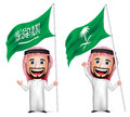 3D Realistic Saudi Arab Man Cartoon Character Holding and Waving Saudi Arabia Flag Royalty Free Stock Photo