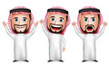 D realistic saudi arab man cartoon character raising hands up gesture wearing thobe in white background set of vector illustration Royalty Free Stock Image