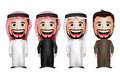 3D Realistic Saudi Arab Man Cartoon Character Wearing Different Traditional Thobe Royalty Free Stock Photo