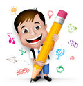 D realistic smart kid school boy writing creative ideas wearing uniform and backpack with big pencil in white background vector Stock Photo
