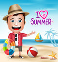 3D Realistic Tourist Man Character Wearing Summer Outfit