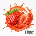 3d realistic transparent isolated vector, peeled strawberry fruit in a splash of juice with drops, edible handmade mesh Royalty Free Stock Photo