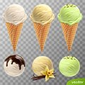 3d realistic vector ice cream scoops in a waffle cones melted chocolate, vanilla flower and sticks, pistachios Royalty Free Stock Photo