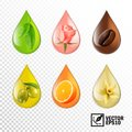 3d realistic vector transparent drops oil with taste and aroma: tea, rose, coffee, olive, orange, vanilla. Editable handmade mesh Royalty Free Stock Photo