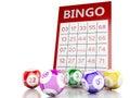 3d Red bingo card with bingo balls.