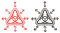 3D red and black triangle biohazard radiation symbol in isolated Royalty Free Stock Photo
