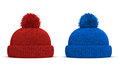 D red and blue knitted winter cap on white background Stock Image