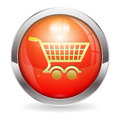 D red button shopping cart icon isolated white easy change color vector illustration Stock Photos