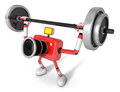 D red camera character a barbell shoulders press exercise crea create robot series Royalty Free Stock Photography