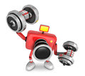 D red camera character a dumbbell one easy clean exercise create robot series Royalty Free Stock Photo