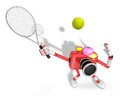 D red camera character is a powerful tennis game play exercises create robot series Royalty Free Stock Photography