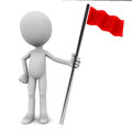D red flag bearer standing white background concept making to challenge Royalty Free Stock Photo