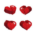 3D red hearts pixel art stlye