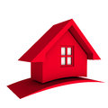 3D Red House with swoosh Logo icon Royalty Free Stock Photo