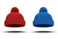 D red knitted winter cap on white background Stock Photos