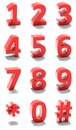 D red numbers set of Royalty Free Stock Photography