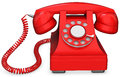 D red old fashioned phone on white background Stock Photos