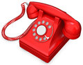 D red old fashioned phone on white background Stock Photography