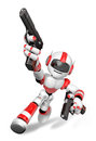 D red robot mascot holding a automatic pistol with both hands create humanoid series Stock Photo