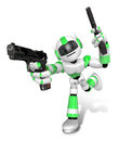 D red robot mascot holding a automatic pistol with both hands create humanoid series Stock Photography