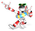 D red robot set out on a summer vacation create d humanoid ro series Royalty Free Stock Image
