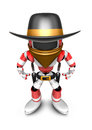 D red robot villain is taking pose a gunfight create d humano humanoid series Royalty Free Stock Photo