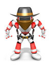 D red robot villain is taking pose a gunfight create d humano humanoid series Stock Photography