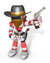 D red robot villain is taking pose a gunfight create d humano humanoid series Royalty Free Stock Images