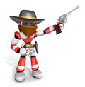 D red robot villain is taking pose a gunfight create humanoid series Stock Images