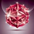 3D Red Shiny Disco Ball. Vecto...